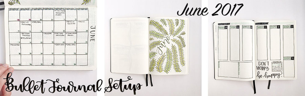 Bullet Journal Setup|  June 2017 - whitelilylettering.com