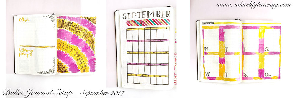 Bullet Journal Setup | September 2017 from www.whitelilylettering.com or @whitelilylettering on Instagram, Facebook and Pinterest!