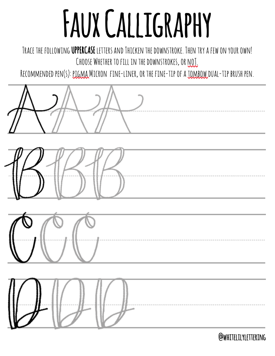 Faux Calligraphy Practice Sheets Uppercase Alphabet — White Lily Lettering