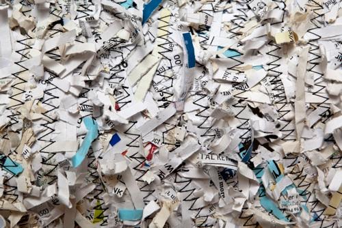 detail,rug , shredded paper, thread 46 x 46 cm.