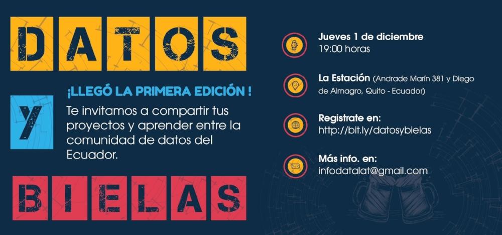 8 proyectos con datos desde Ecuador, el primer Datos y Bielas - La primera edición de #DatosyBielas en Quito fue en diciembre del 2016. Este es un evento de la comunidad de datos de Ecuador para compartir sobre proyectos e ideas y promover la colaboración.
