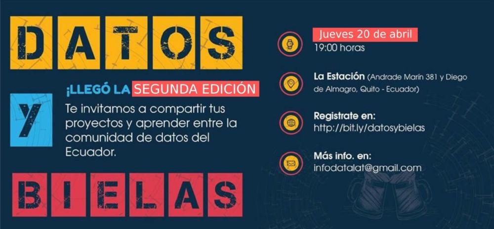 Empoderamiento con Datos desde Ecuador, el segundo #DatosyBielas - En esta edición se presentaron 8 proyectos en varias temáticas, predominando temas de gobierno abierto y periodismo ciudadano y digital con datos.