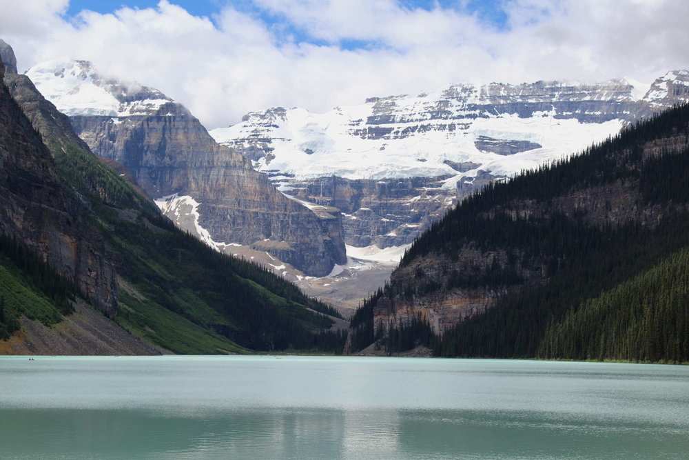 The iconic view from the shoreline of Lake Louise