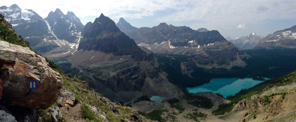 Panorama from Wiwaxy Gap overlooking Lake O'Hara and Yoho National Park