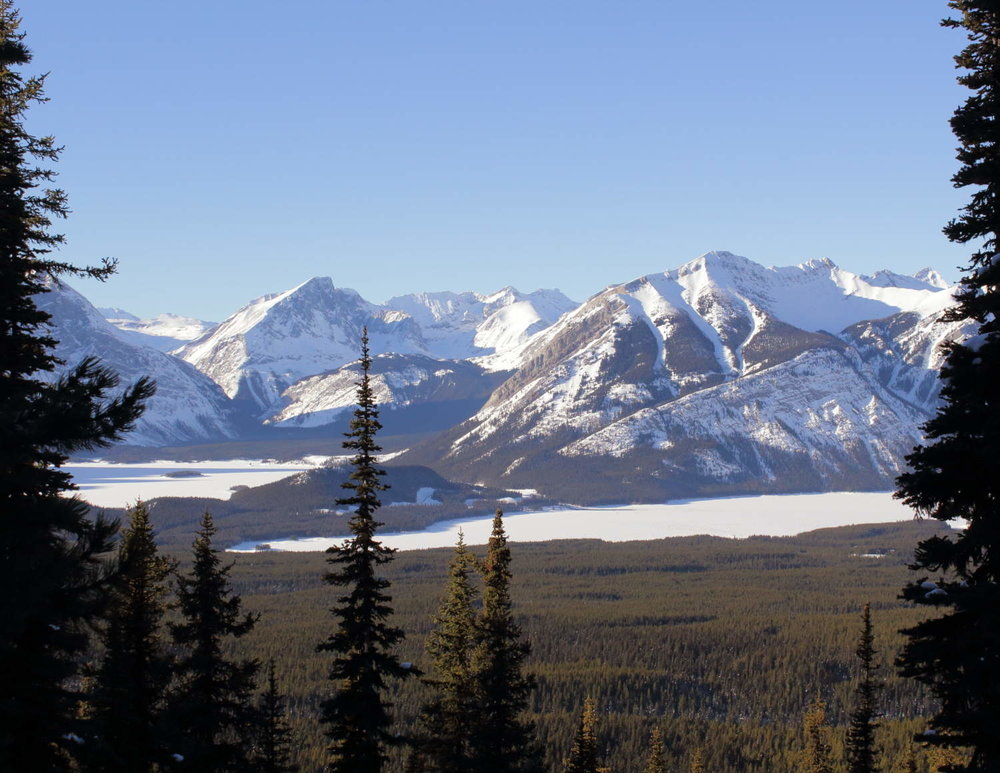Looking out across Upper and Lower Kananaskis lakes