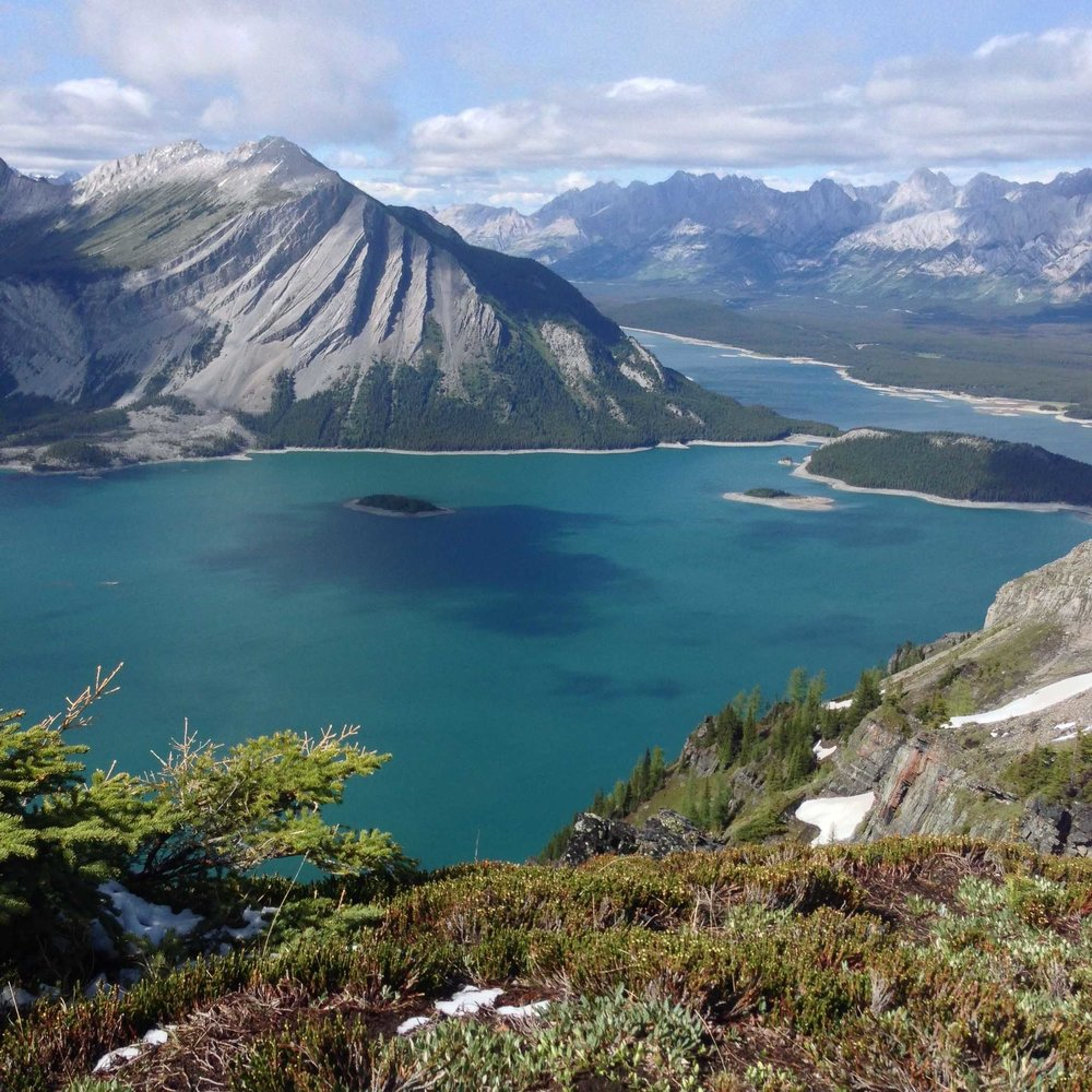 View of Upper and Lower Kananaskis Lake from Sarrail Ridge