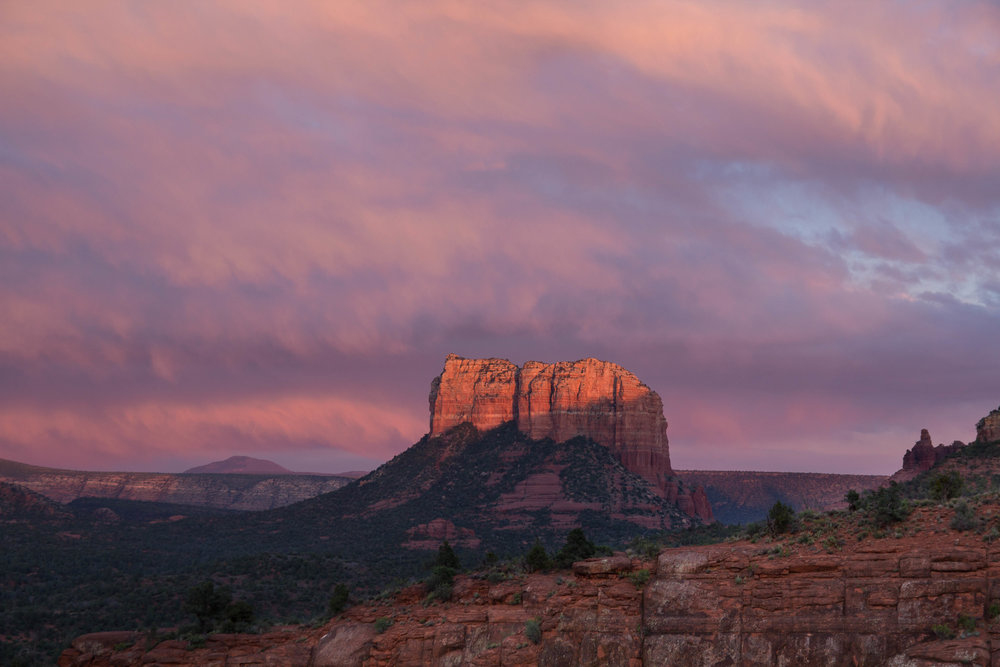 Sunset light on nearby Courthouse Butte