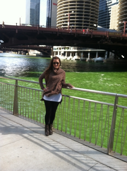 At the Chicago River, dyed green for St. Paddy's Day. March 2013