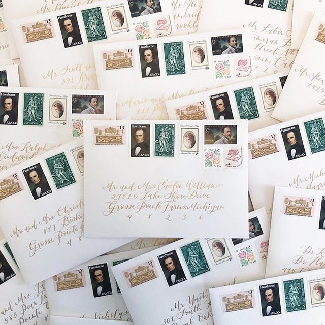 Working with planners who value the art of calligraphy and know how to elevate the art just makes my heart sing 💕 The aesthetic of these envelopes are so lovely. The vintage stamps flow beautifully with the custom gold calligraphy script I used to match the couple's wedding invitations. It's the perfect blend of old and new. ✉️🖋 Planning/Design/Photo: @inesandmarieevents . .  #cocalligraphy #calligraphy #postage #vintage #moderncalligraphy #customcalligraphy #makersgonnamake #bespokeinvitations #handlettering #dailydoseofpaper #inspiremyinstagram #weddinginspiration #paperlove #vintagestamps #soloverly #calligrapher #michiganwedding