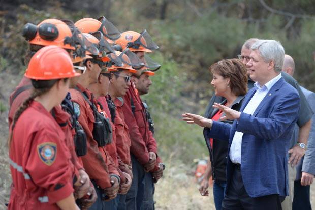 Stephen Harper was mocked in 2015 for taking firefighters from an active firefight for a staged photo op in Kelowna, BC