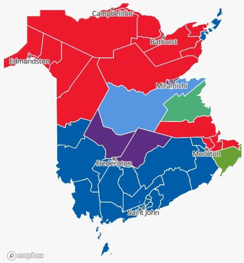 2018 elections map showing the PCs completely shut out of northern New Brunswick, except for that one seat that Robert Gauvin took. Photo Credit: Wikipedia
