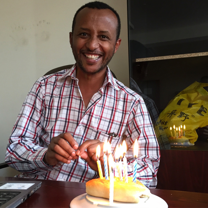 Getahun at his desk on his birthday