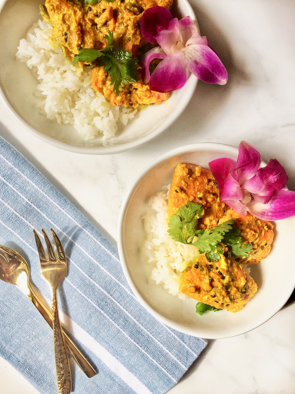 fragrant jasmine rice & tender salmon cooked in a rich, delectable mustard seed sauce