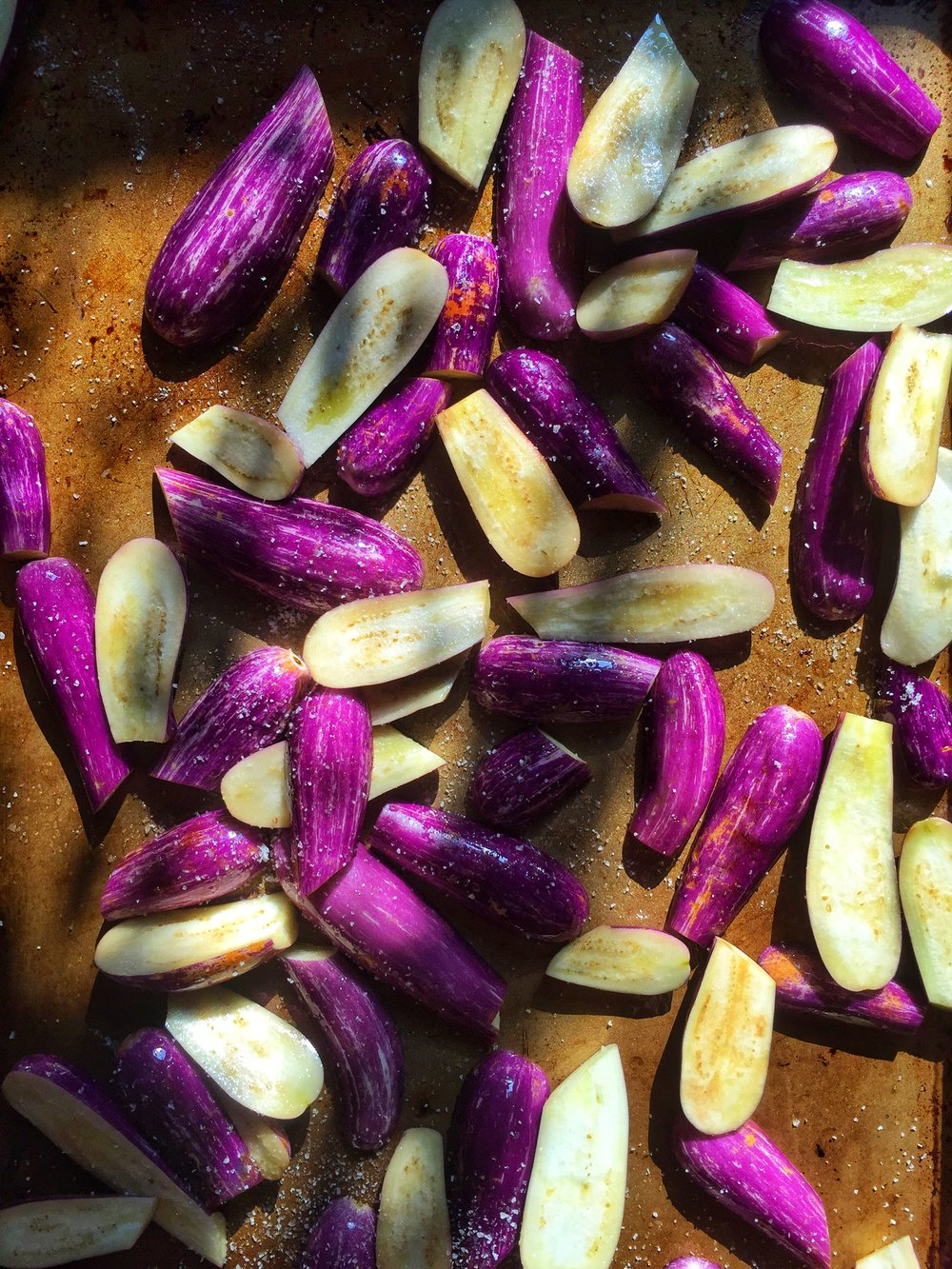 simple fairy tale eggplants with olive oil and kosher salt ~