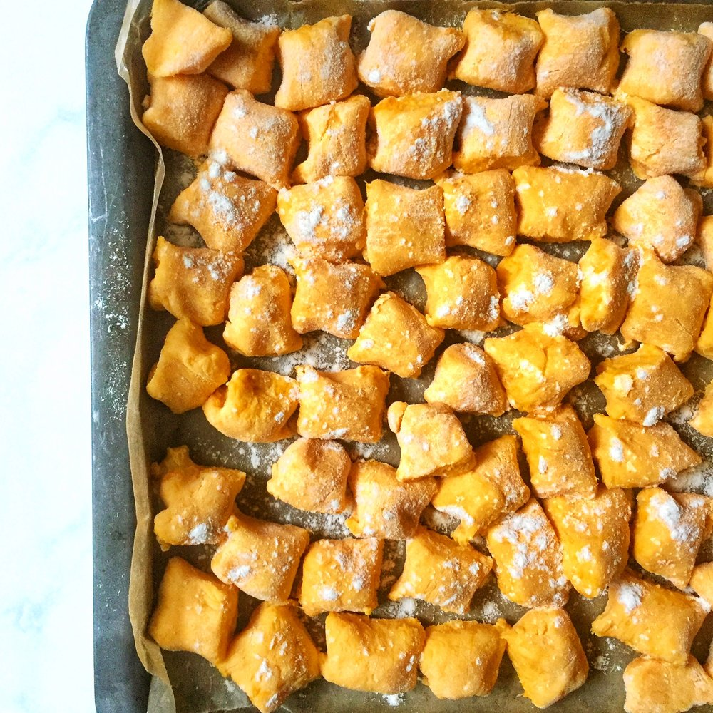 sweet potato & ricotta gnocchi with garlic & sage brown butter