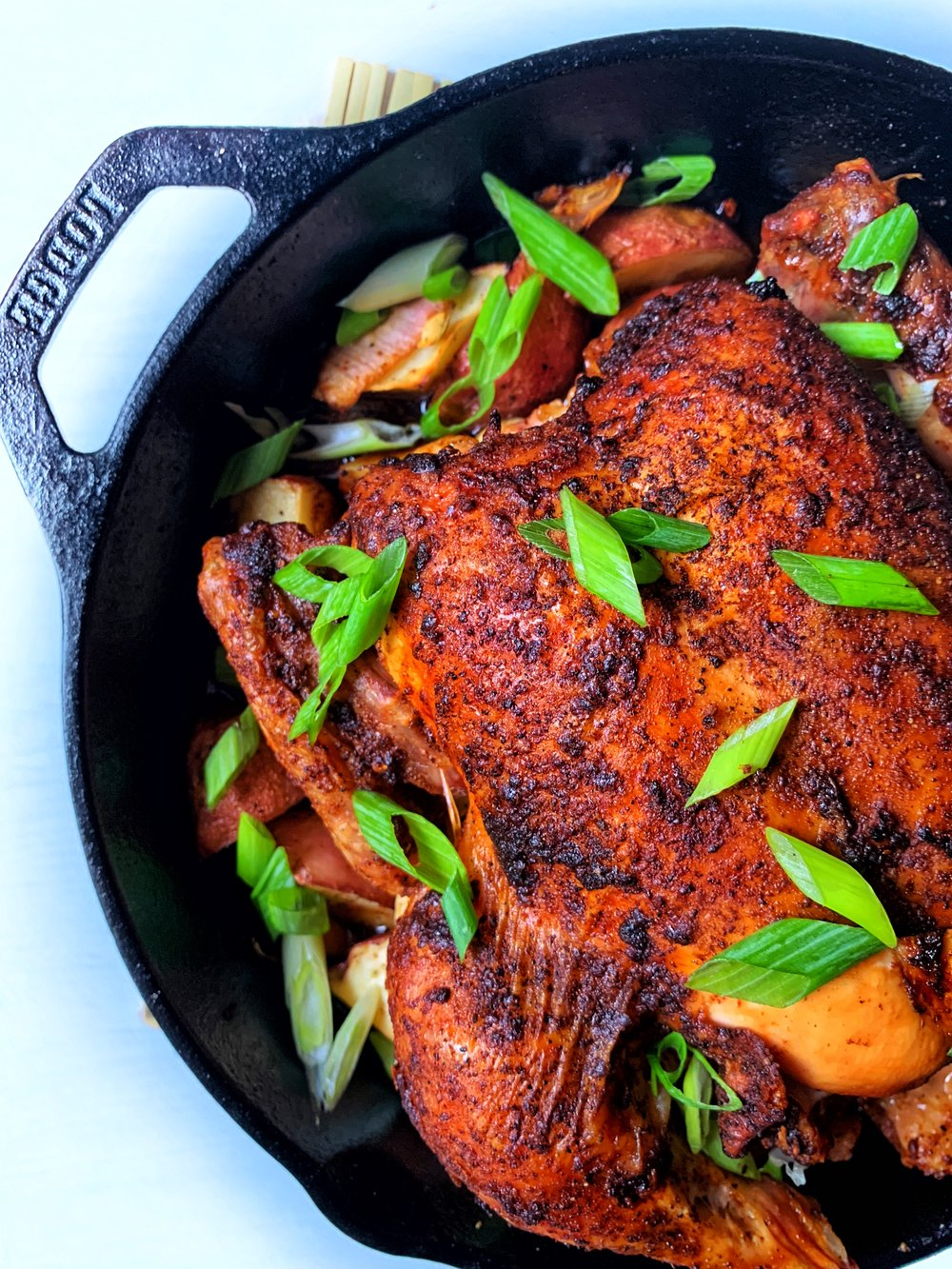 just add a simple salad or some nice bread to accompany your beautiful harissa roast chicken