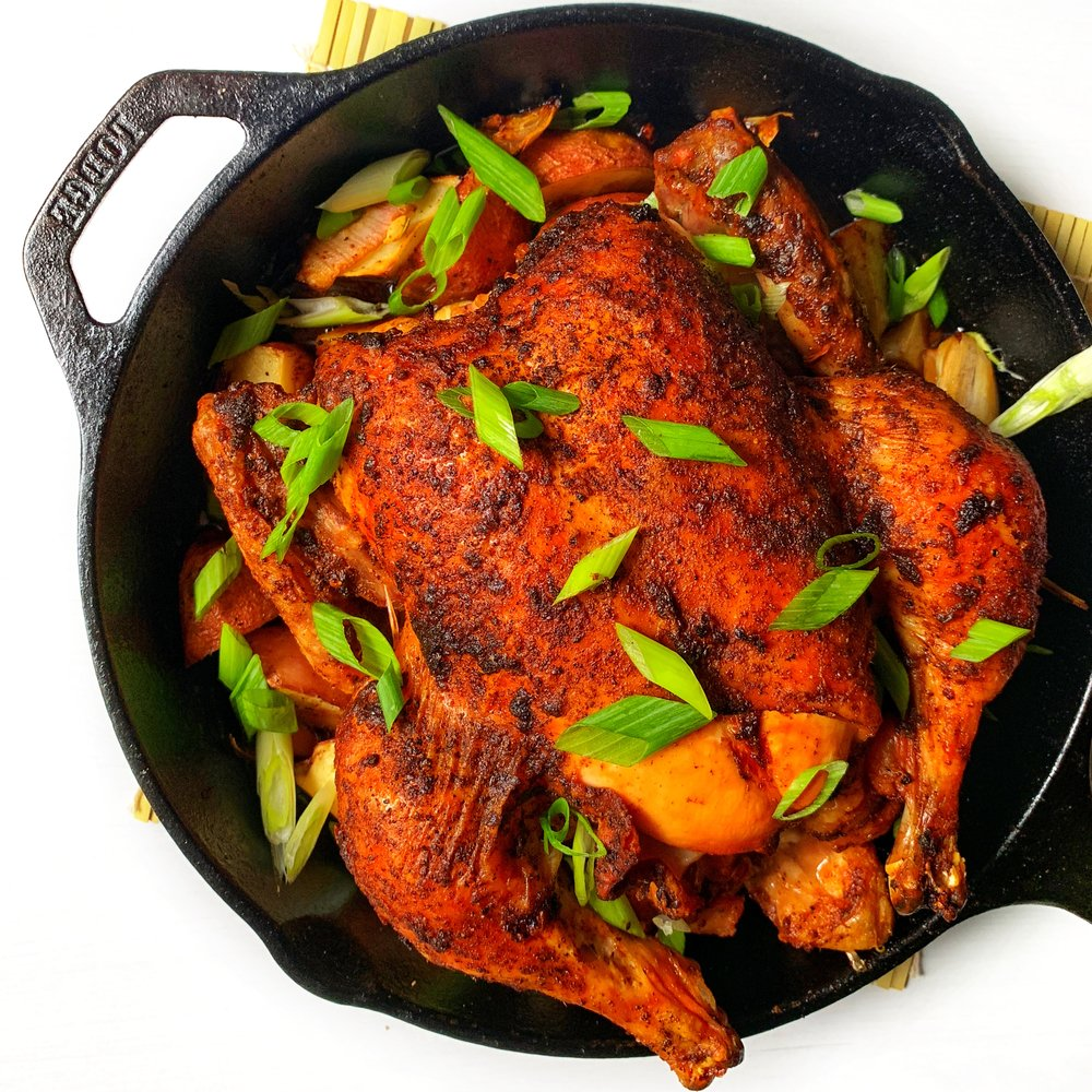 harissa & lemon roast chicken with garlic & potatoes ~ easy one-pan weeknight dinner