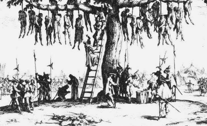 CATHOLIC PRIEST BLESSES HANGING VICTIMS DURING THE THIRTY YEARS WAR