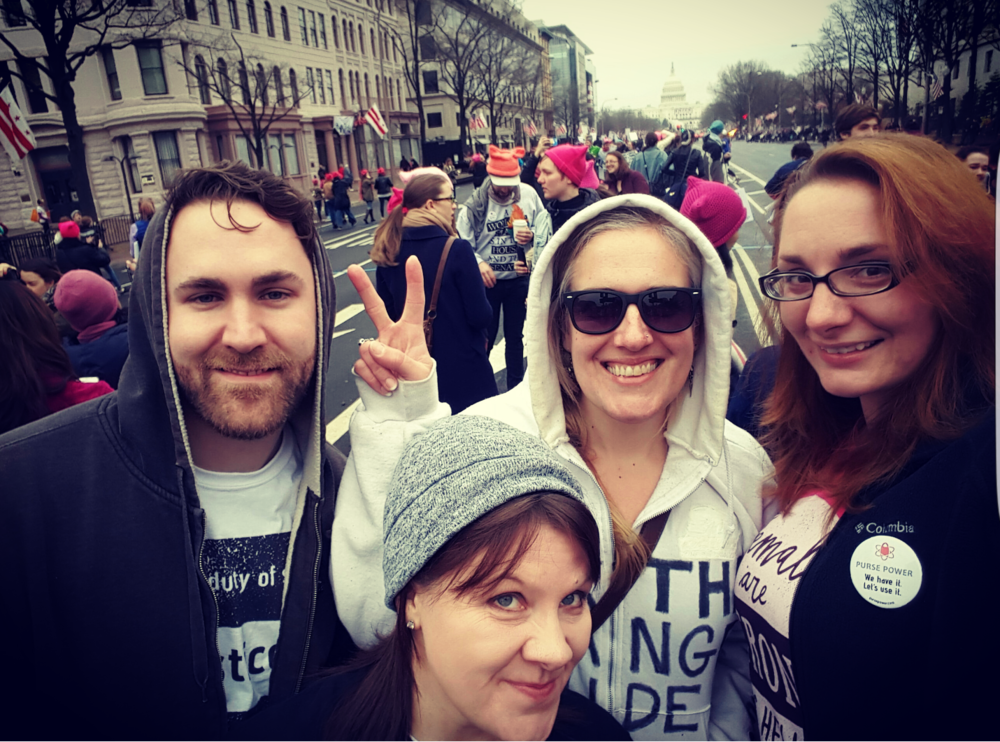 My wife Sarah and I, with two of our friends at the Women's March in DC - January 21st, 2017