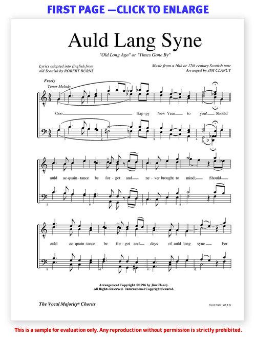 Auld Lang Syne — Men — Jim Clancy Arrangements
