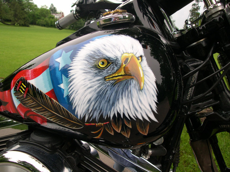 Mural on gas tank for Harley Motorcycle