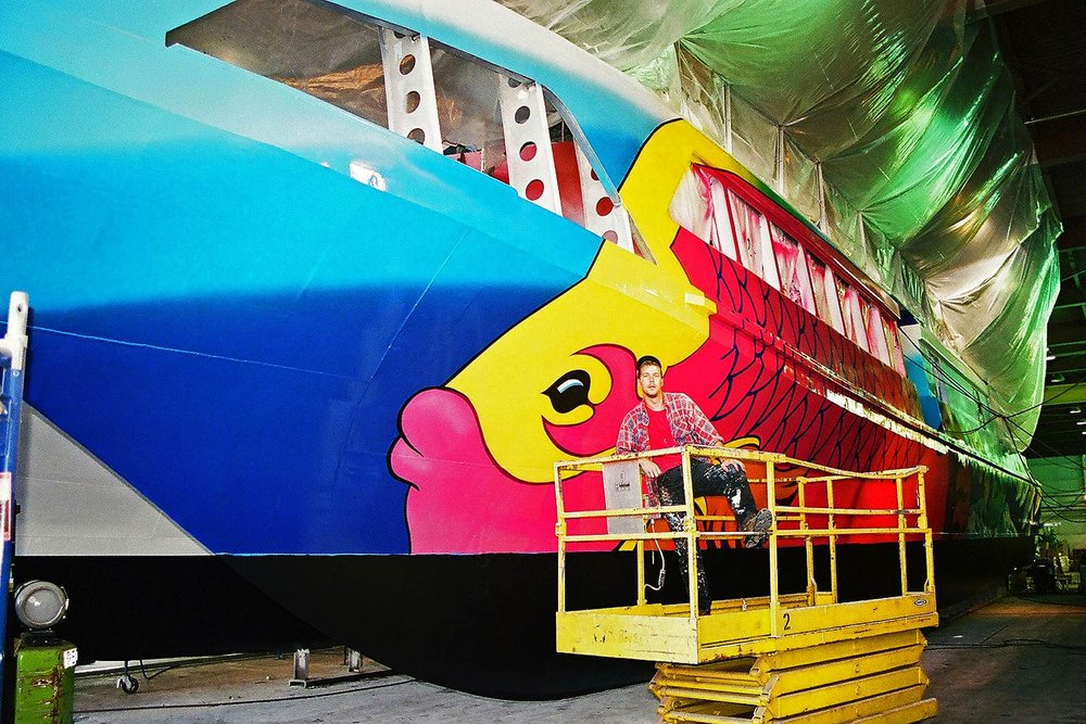 Mural on ship for Bahama Fast Ferry - In Progress