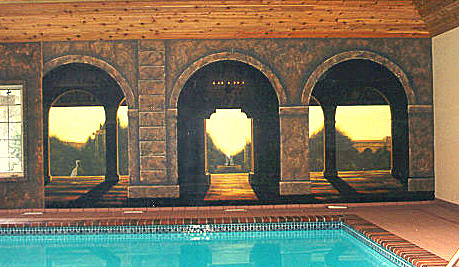 Trompe' L'oeil Mural on location in indoor pool area for Private Residence