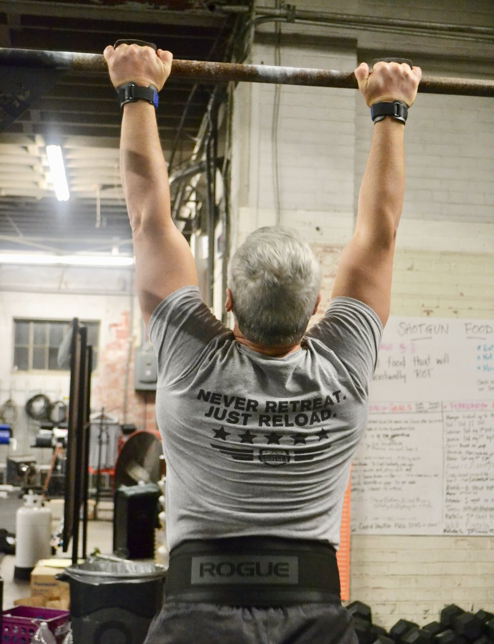 Tom N.  Skill: Muscle-Up and Handstand walk practice 6 min AMRAP: 1-4 Muscle Ups -then- 6 min : 30 sec. HS walk 30 rest.  *Scaled:  Work on what you need to work on during this time. Bar MU, C2B, pull-ups, Ring rows. Kicking Up to a HS.  Weight transfers in a HS.  WOD: EMOM 20 minutes of:  10 Burpees  Score:  Slowest and fastest times. Rx:  10 burpees all 20 rounds.  Sc: Reduce reps as needed.  You want to build in around 20-30 sec. or more of rest per minute.