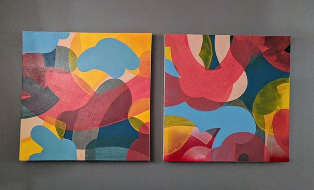 Two of a kind.🍒 . . . . .#abstractpainting #contemporaryart #diptych #colorstudy #art #abstractart #dailydoodle #sketchoftheday #painting #paint #acrylicpaint
