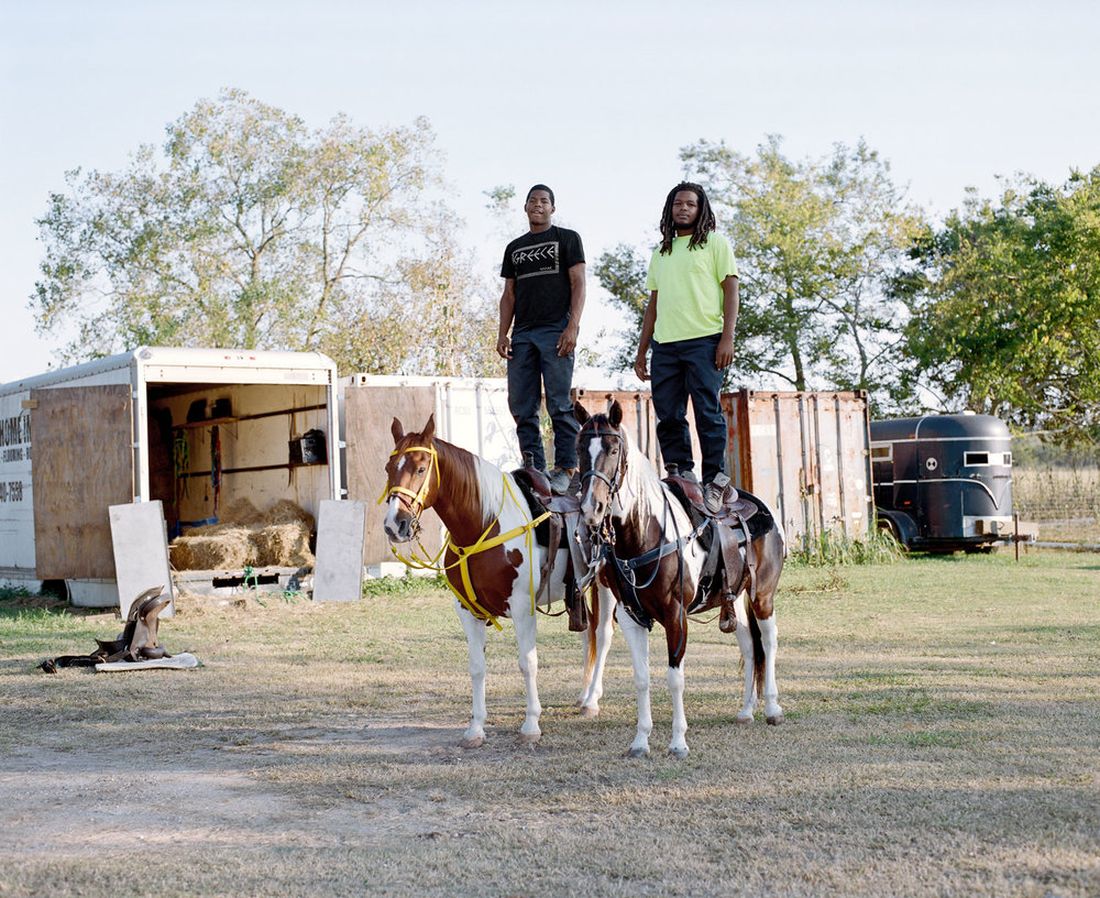 Devence, left, and Dwayne at their stables in Childs Arena, Bridge City
