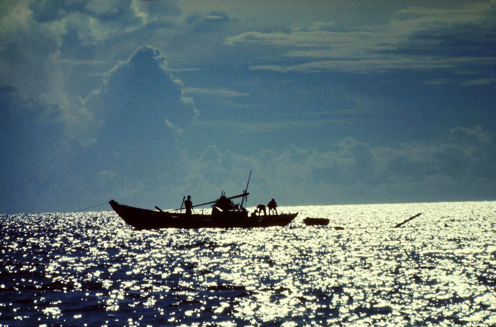Vietnamese fishermen heading out in their sampan to the South China Sea from the port in Nha Trang, Vietnam  Michael Olson — U.S. Army, Specialist 4, 981st M.P. Sentry Dog Nha Trang, Vietnam 1969-70