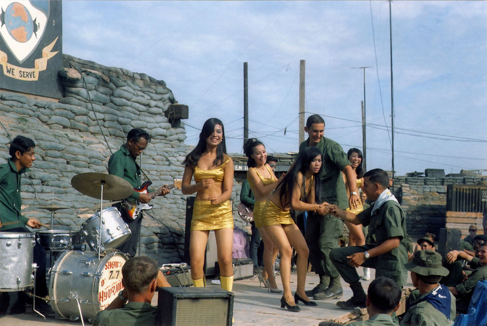 USO performance at Fire Base Rawlins, Tay Ninh Province, Vietnam, November 1969  David Fahey — Spec 4, US Army, 25th Infantry, 4th Battalion, 23rd Mechanized Infantry Brigade   Vietnam and Cambodia, September 1969 – September 1970