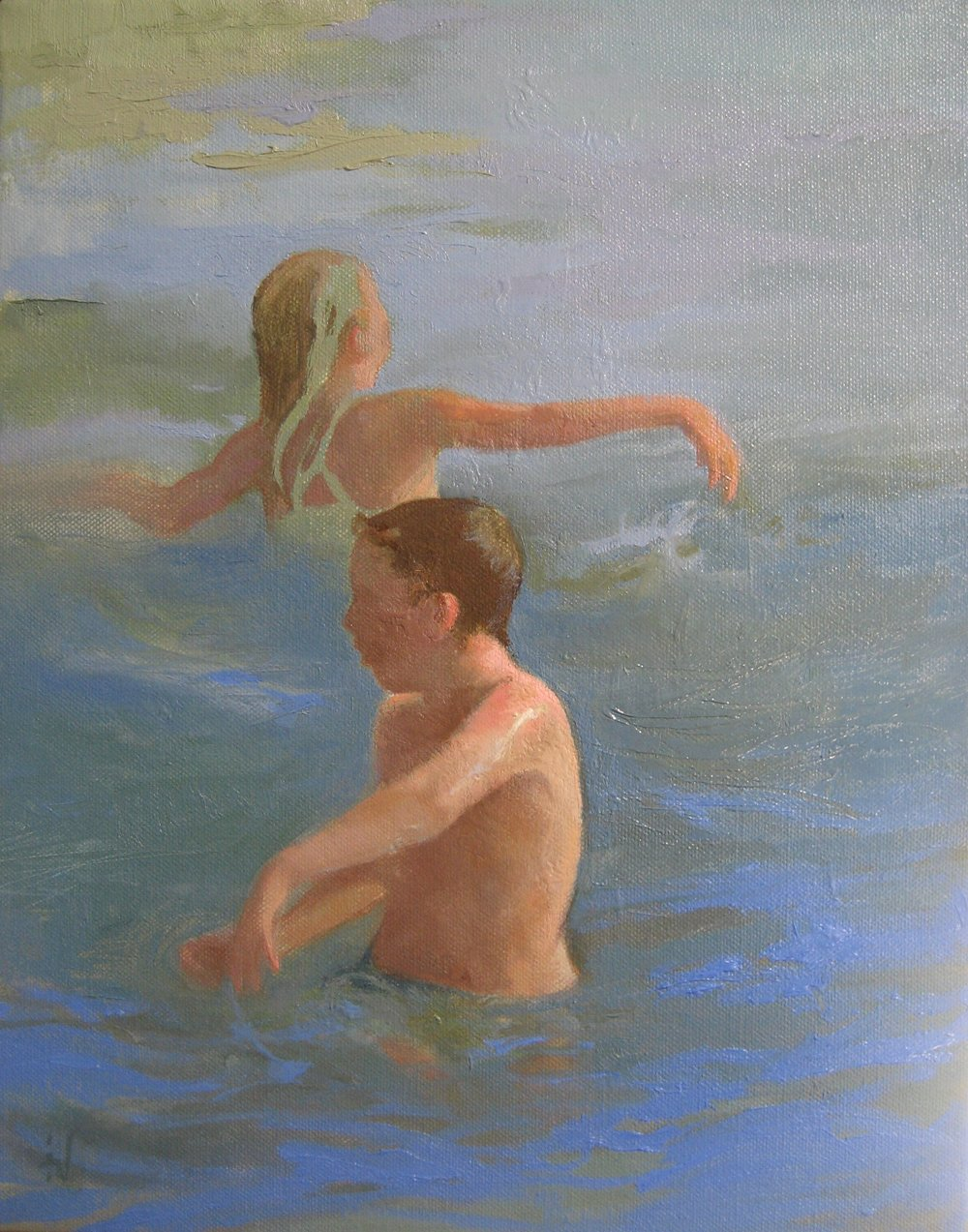 Swimming Together , oil on canvas,
