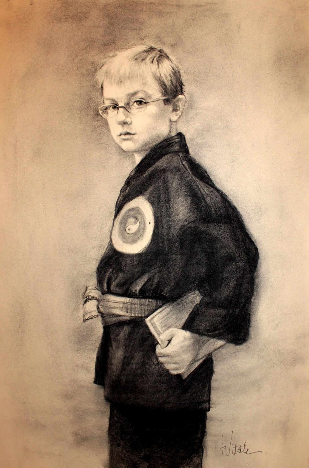 Young Master , charcoal on Reeves,