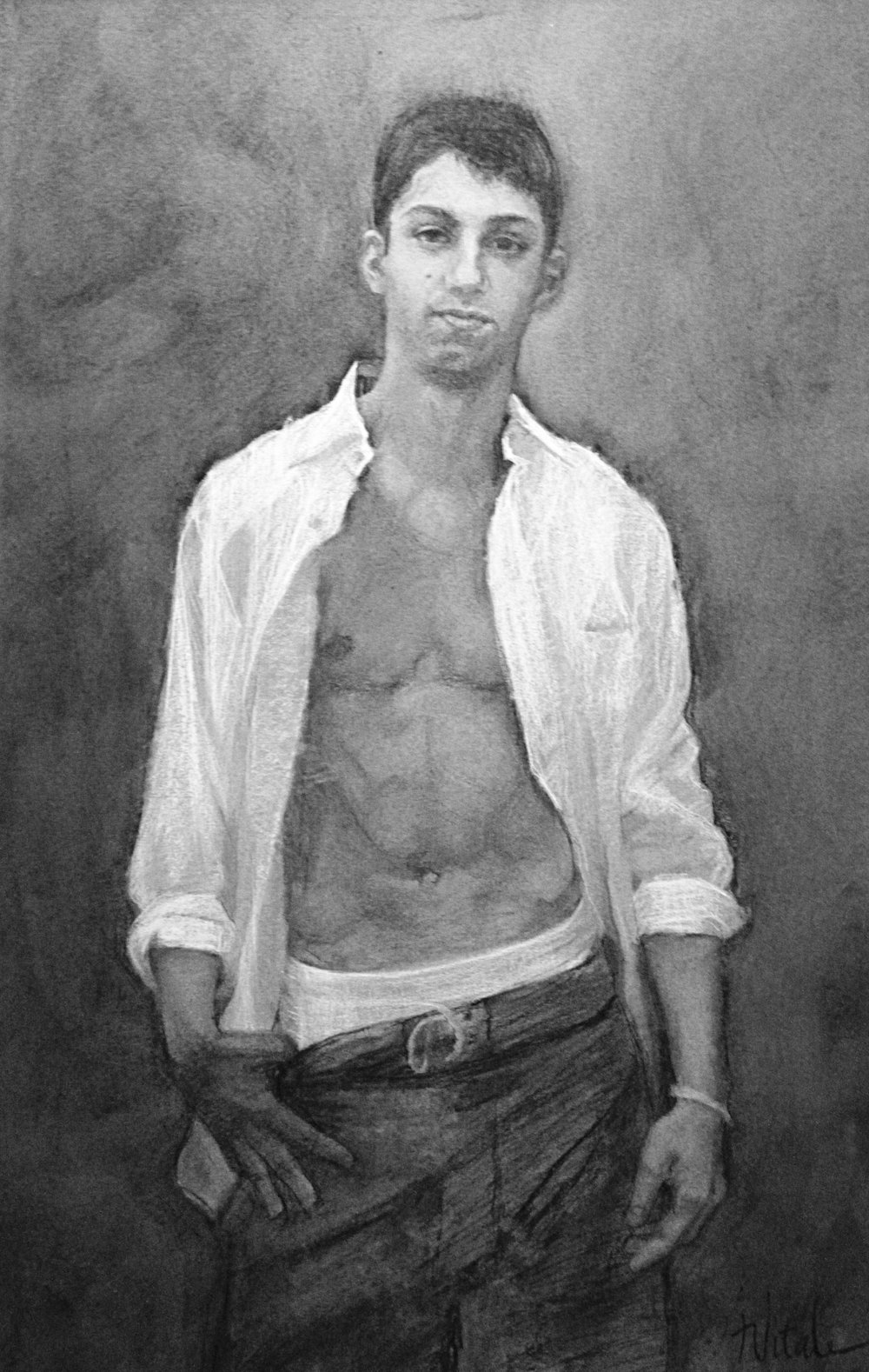Portrait of Eddie , charcoal on canson, 23 x 31""