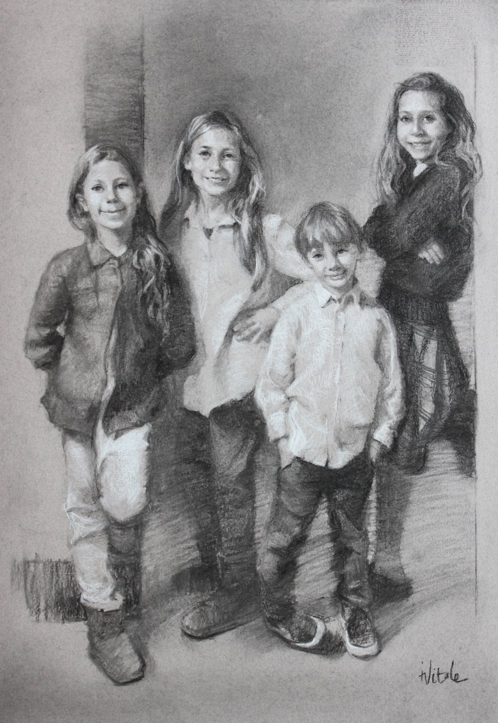 Family Portrait Commission,  charcoal on moonstone canson paper