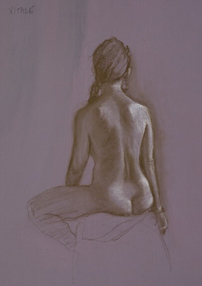 "Braid , charcoal on pumice board, 11 x 14""   prints available"