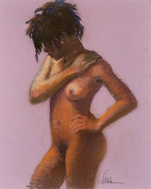 Kim , pastel on pumice board,
