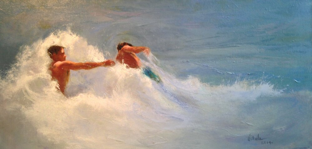 """Wave Breakers , oil on canvas, 31.5 x 16.5"""""""