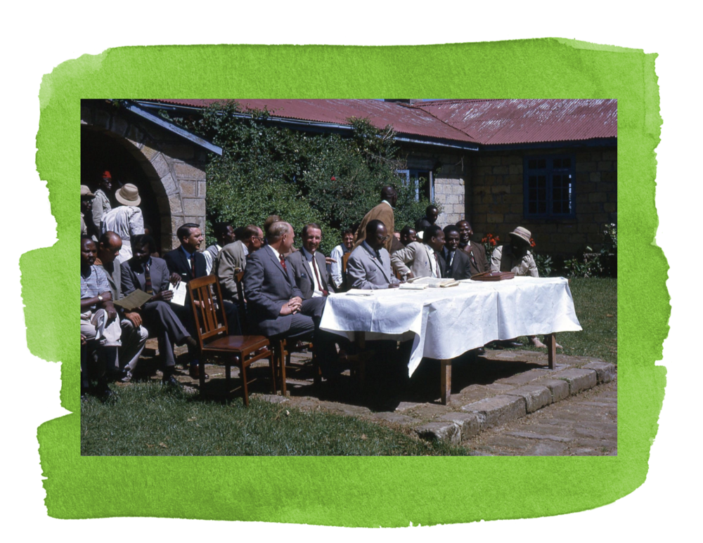 A meeting on the Kinangops with the Minister of Lands and Settlement, J.H. Againe (in the middle, light gray suit, going over his notes before the meeting started), and the Director of Settlement J.W, Maina (to his right, looking at the photo).