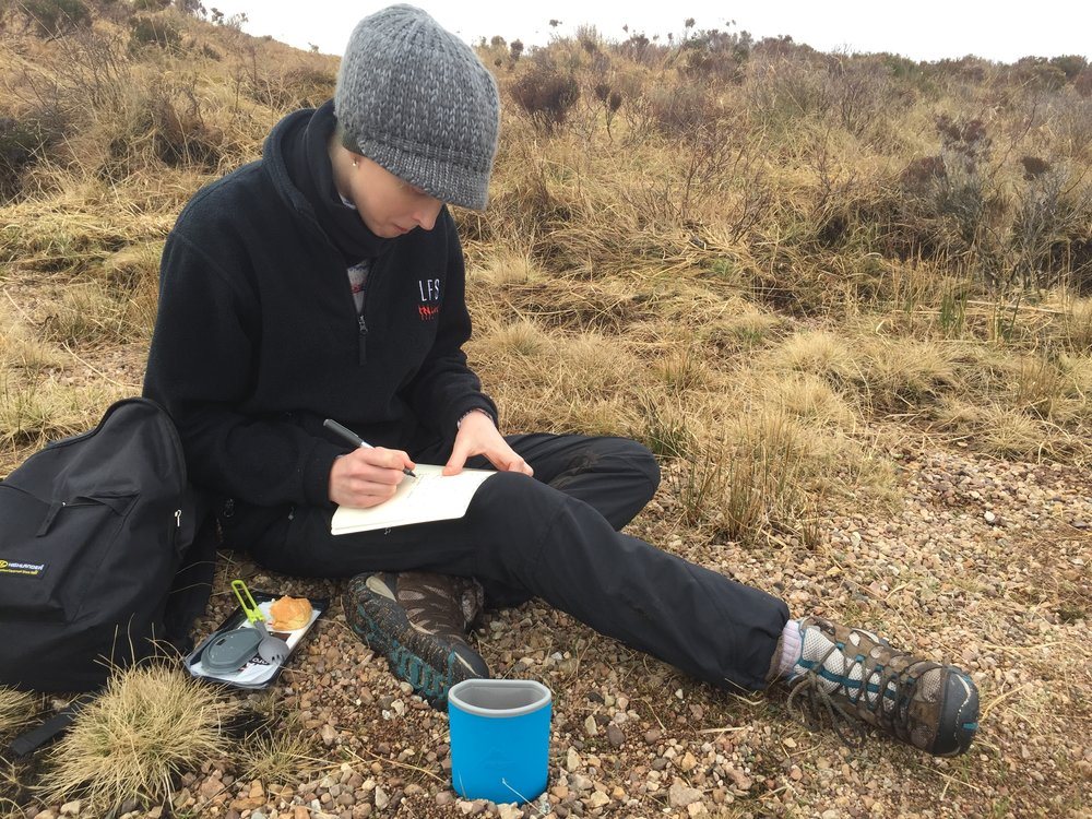 Screenwriter Elizabeth O'Halloran scribbling notes during a scout with Director Simon Hunter