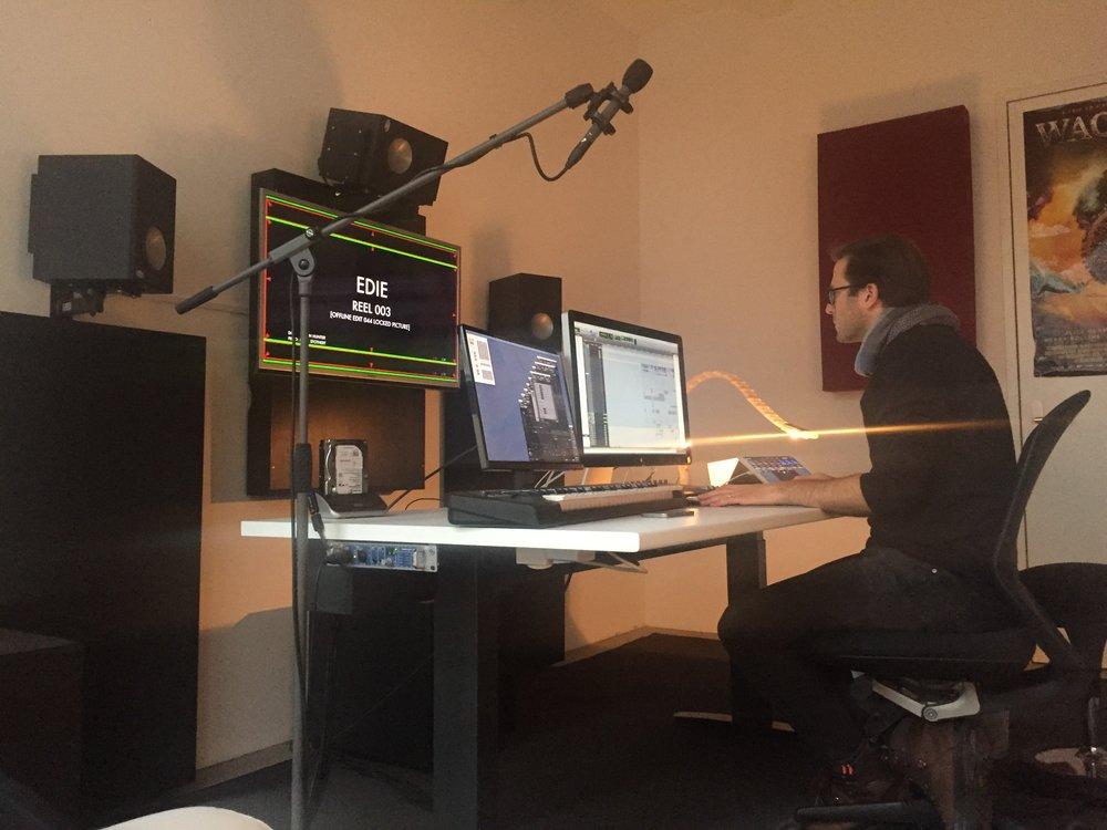 Sound Designer Sebastian Morsch at work at Post Republic in Berlin