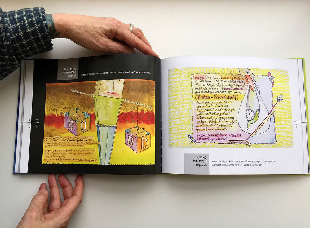 Above: Inside pages from the book Fear, Illustrated. Illustrations by Julie M. Elman ©2016. Book design by John Barnett / 4 Eyes Design.