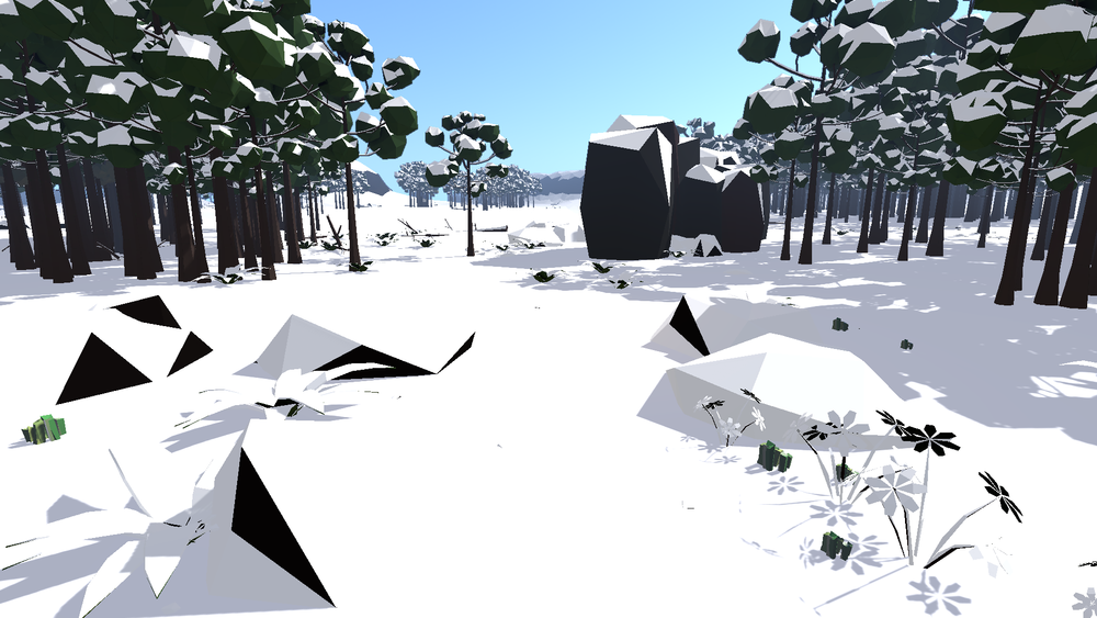 Same angle as with Global Snow, but using my custom shader.