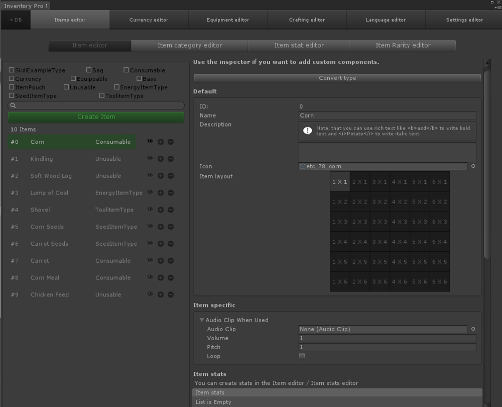 Inventory Pro Editor - Item Editor