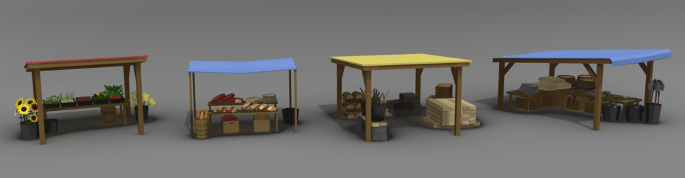 A WIP render of market stalls - yes I know the lighting isn't awesome
