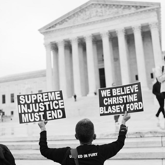 "#believechristineblaseyford . . . . . #Repost @womensmarch with @get_repost ・・・ Today, we made our message heard. We'll be even louder on Thursday. Supreme injustice must end. #CancelKavanaugh #BelieveSurvivors 📸 by @brookesaias . . . IMAGE DESCRIPTION: a photo of a person standing on the steps of the Supreme Court holding two signs. The first reads ""supreme injustice must end."" The second reads ""We believe Christine Blasey Ford."""