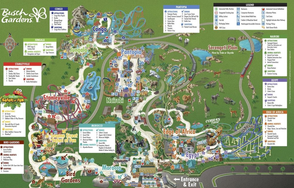 BUSCH GARDENS PARK MAP. ALL CREDITS BUSCH GARDENS.   DOWNLOAD LARGE MAP HERE.