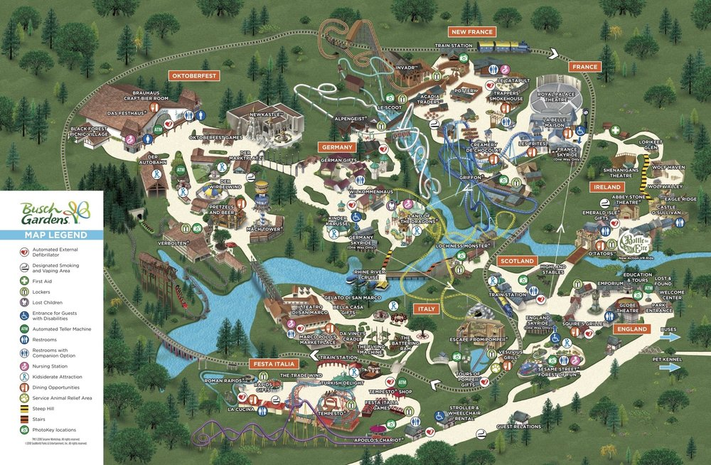 BUSCH GARDENS PARK MAP, ALL CREDITS TO BUSCH GARDENS