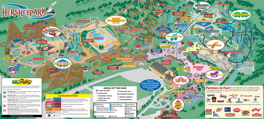 Hersheypark's PARK MAP, ALL CREDIT TO Hersheypark